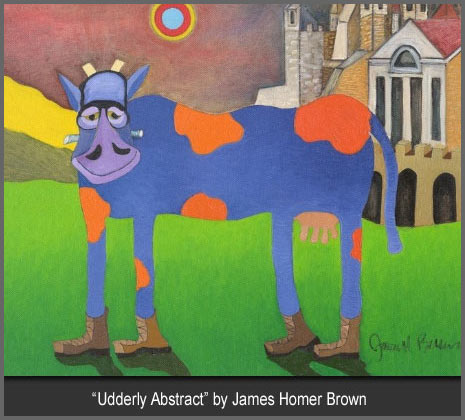 Comical Cow Paintings and Prints by artist James Homer Brown